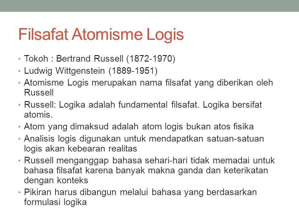 Filsafat Atomisme Logis Tokoh : Bertrand Russell (1872-1970) Ludwig Wittgenstein (1889-1951) Atomisme Logis merupakan nama filsafat yang diberikan oleh Russell Russell: Logika adalah fundamental filsafat.