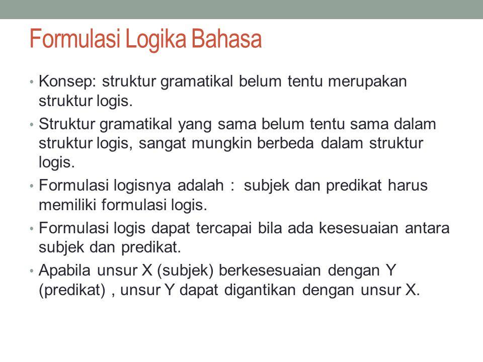 Formulasi Logika Bahasa Konsep: struktur gramatikal belum tentu merupakan struktur logis.