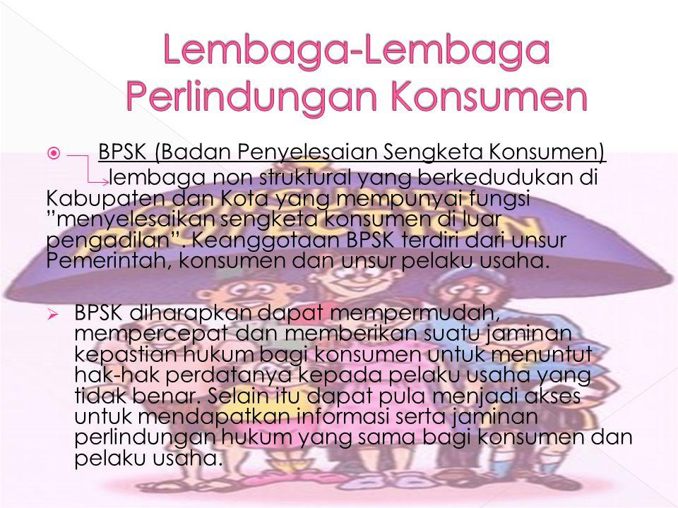 """ BPSK (Badan Penyelesaian Sengketa Konsumen) lembaga non struktural yang berkedudukan di Kabupaten dan Kota yang mempunyai fungsi """"menyelesaikan seng"""