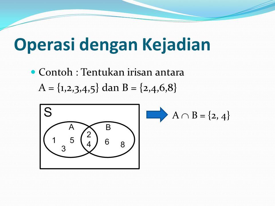 Operasi dengan Kejadian Contoh : Tentukan irisan antara A = {1,2,3,4,5} dan B = {2,4,6,8} A  B = {2, 4}
