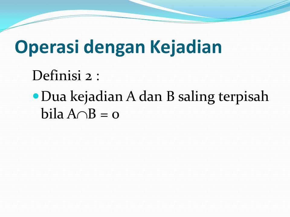Operasi dengan Kejadian Definisi 2 : Dua kejadian A dan B saling terpisah bila A  B = 0