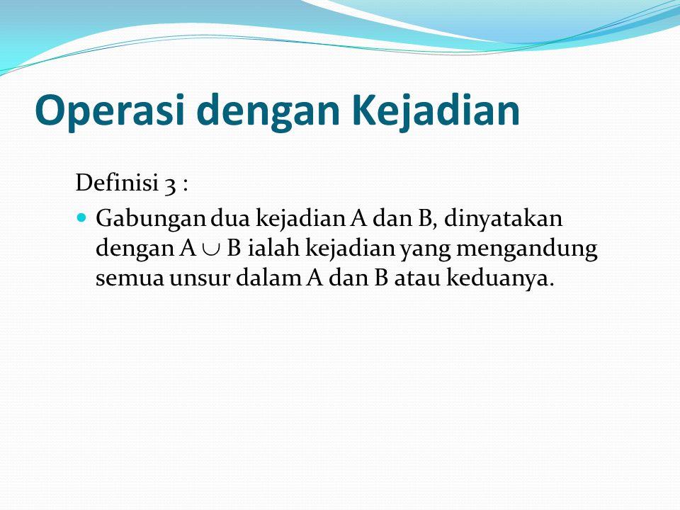 Operasi dengan Kejadian Definisi 3 : Gabungan dua kejadian A dan B, dinyatakan dengan A  B ialah kejadian yang mengandung semua unsur dalam A dan B atau keduanya.