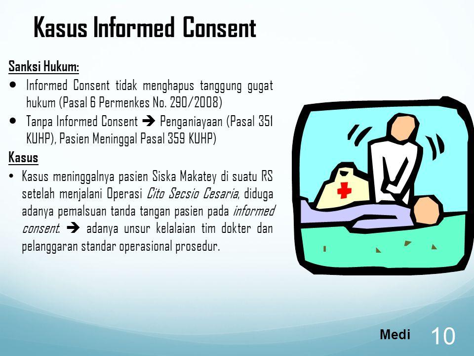 Kasus Informed Consent Sanksi Hukum: Informed Consent tidak menghapus tanggung gugat hukum (Pasal 6 Permenkes No.