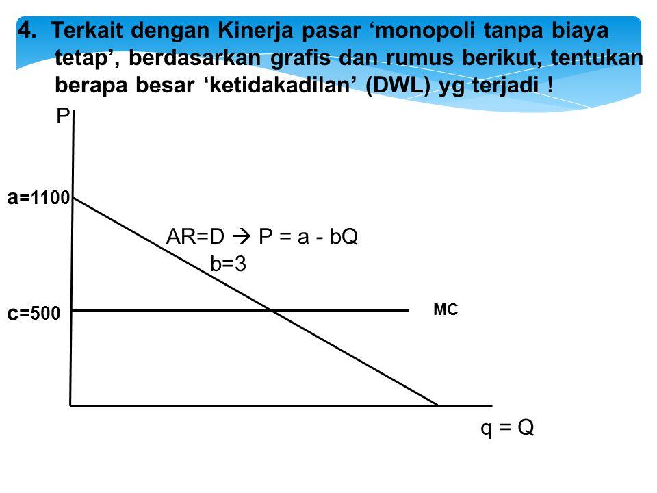 AR=D  P = a - bQ q = Q P MC a =1100 c =500 b=3 4. Terkait dengan Kinerja pasar 'monopoli tanpa biaya tetap', berdasarkan grafis dan rumus berikut, te