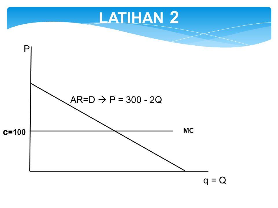 AR=D  P = 300 - 2Q q = Q P MC c =100 LATIHAN 2