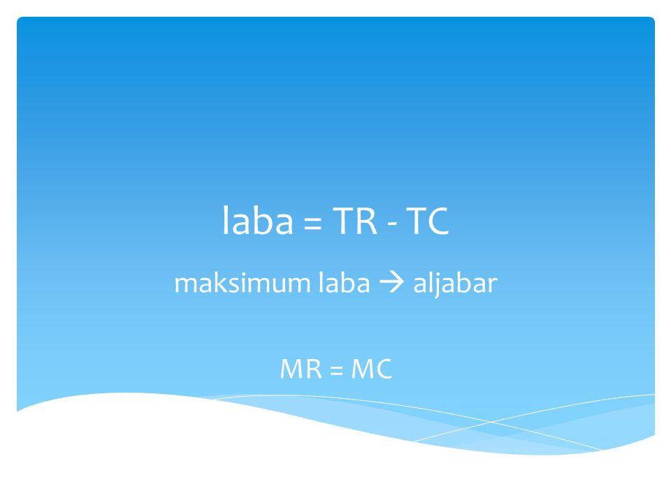 laba = TR - TC maksimum laba  aljabar MR = MC
