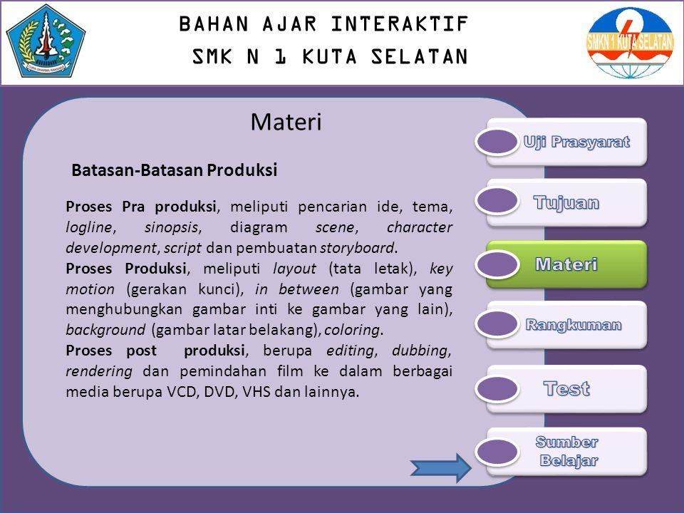 Materi Batasan-Batasan Produksi Proses Pra produksi, meliputi pencarian ide, tema, logline, sinopsis, diagram scene, character development, script dan