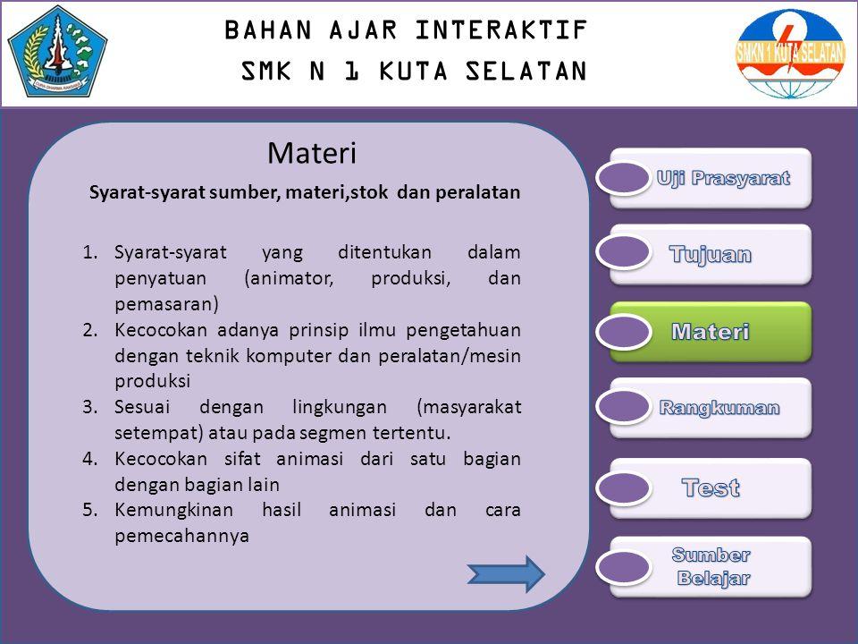 Materi Syarat-syarat sumber, materi,stok dan peralatan 1.Syarat-syarat yang ditentukan dalam penyatuan (animator, produksi, dan pemasaran) 2.Kecocokan