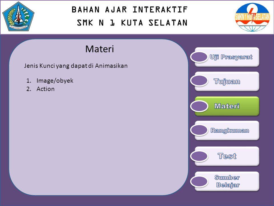 Materi 1.Image/obyek 2.Action Jenis Kunci yang dapat di Animasikan BAHAN AJAR INTERAKTIF SMK N 1 KUTA SELATAN