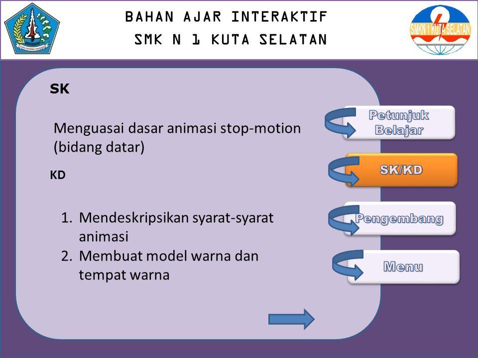 SK KD Menguasai dasar animasi stop-motion (bidang datar) 1.Mendeskripsikan syarat-syarat animasi 2.Membuat model warna dan tempat warna BAHAN AJAR INT
