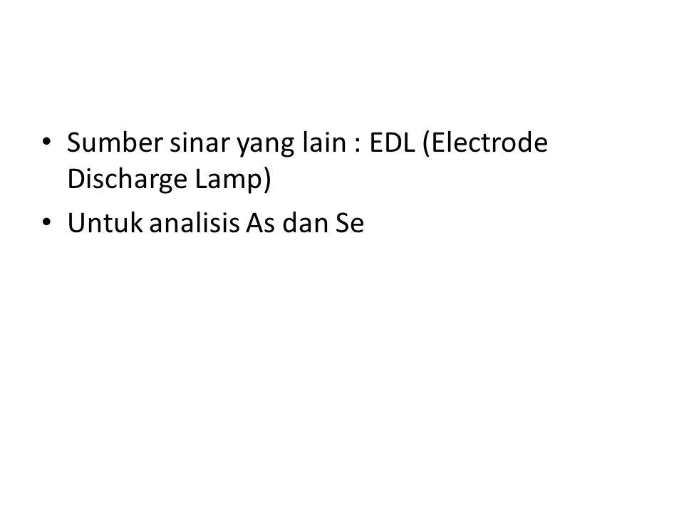 Sumber sinar yang lain : EDL (Electrode Discharge Lamp) Untuk analisis As dan Se