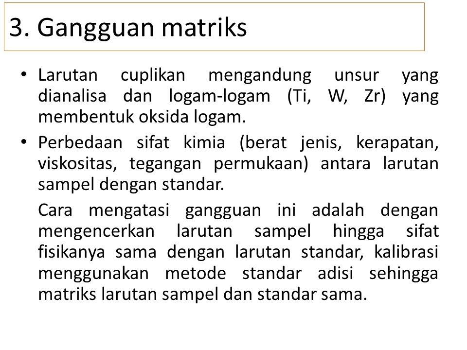 3. Gangguan matriks Larutan cuplikan mengandung unsur yang dianalisa dan logam-logam (Ti, W, Zr) yang membentuk oksida logam. Perbedaan sifat kimia (b