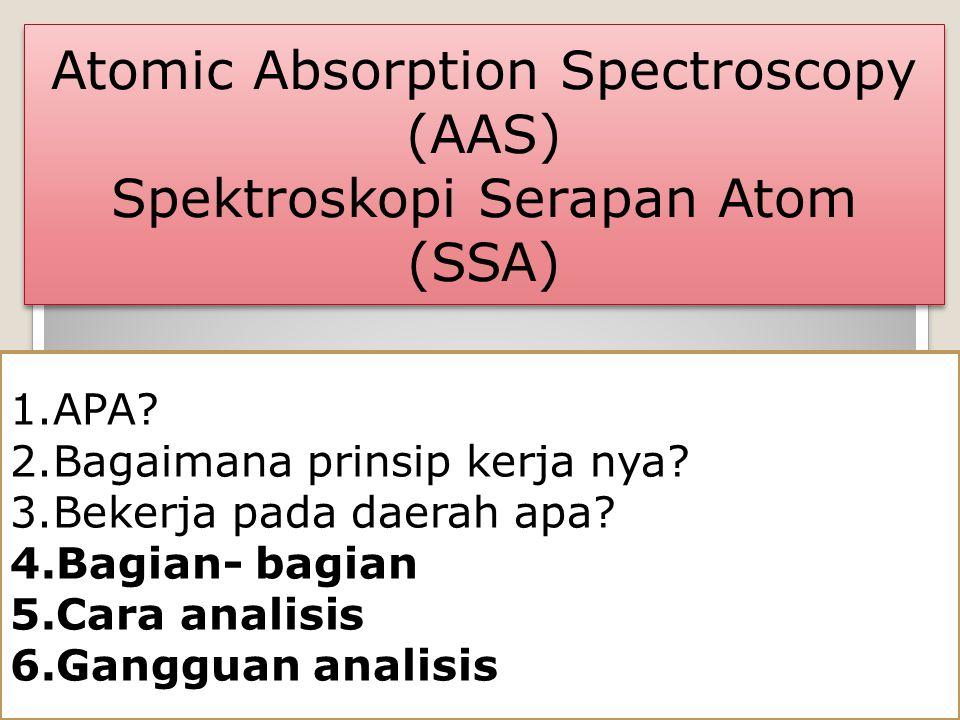 Atomic Absorption Spectroscopy (AAS) Spektroskopi Serapan Atom (SSA) Atomic Absorption Spectroscopy (AAS) Spektroskopi Serapan Atom (SSA) 1.APA? 2.Bag