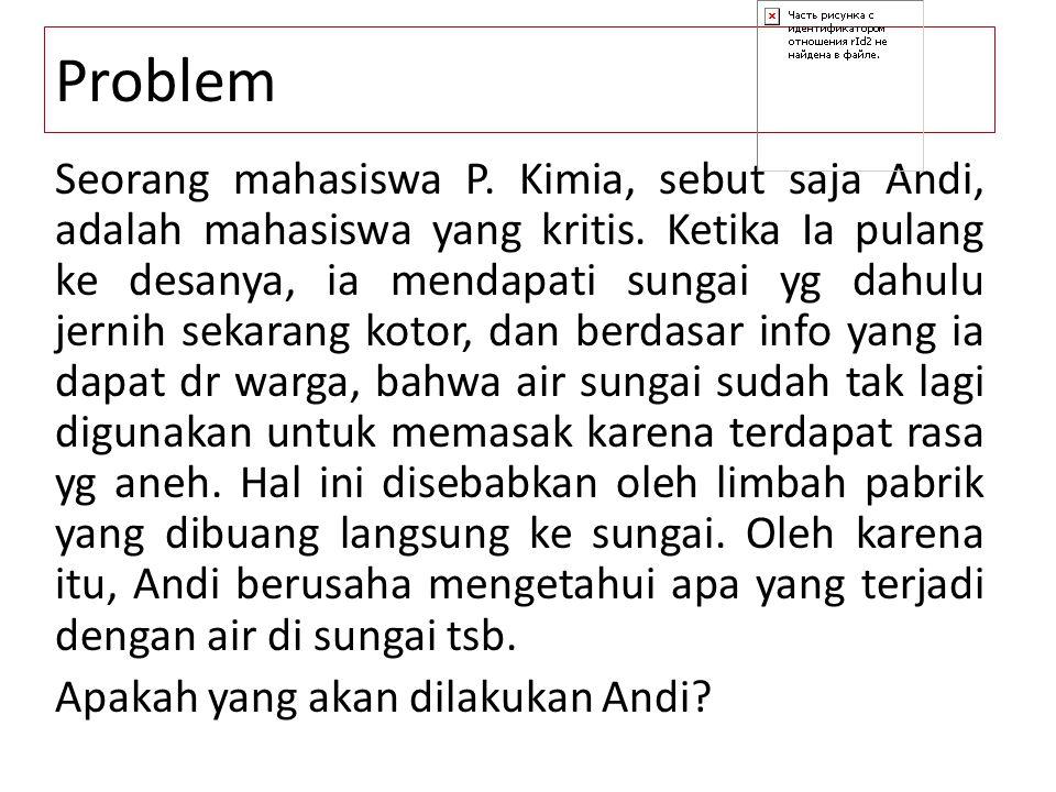 Problem Seorang mahasiswa P. Kimia, sebut saja Andi, adalah mahasiswa yang kritis. Ketika Ia pulang ke desanya, ia mendapati sungai yg dahulu jernih s