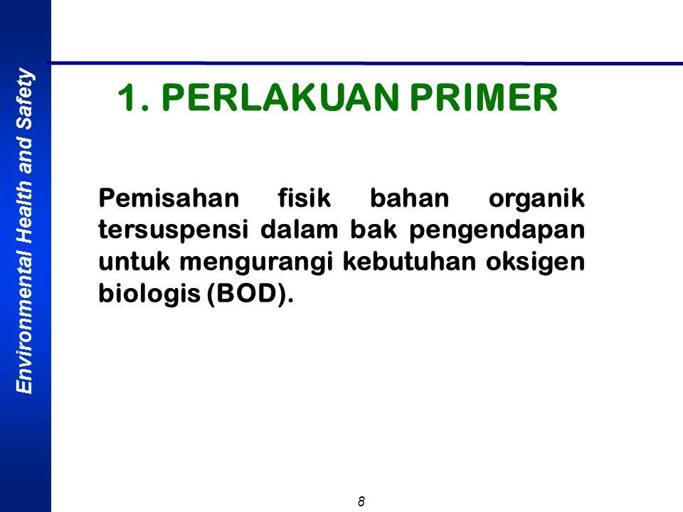 Environmental Health and Safety 8 Pemisahan fisik bahan organik tersuspensi dalam bak pengendapan untuk mengurangi kebutuhan oksigen biologis (BOD). 1