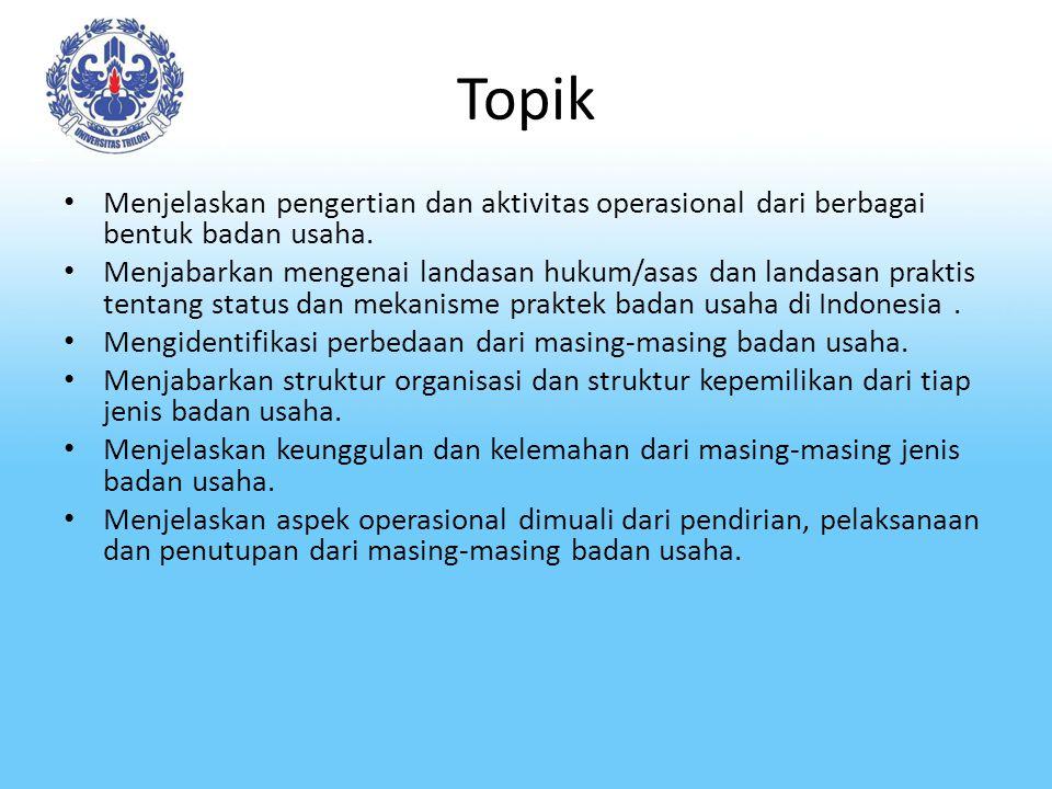 Topik Menjelaskan pengertian dan aktivitas operasional dari berbagai bentuk badan usaha.