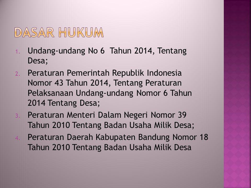 1. Undang-undang No 6 Tahun 2014, Tentang Desa; 2. Peraturan Pemerintah Republik Indonesia Nomor 43 Tahun 2014, Tentang Peraturan Pelaksanaan Undang-u