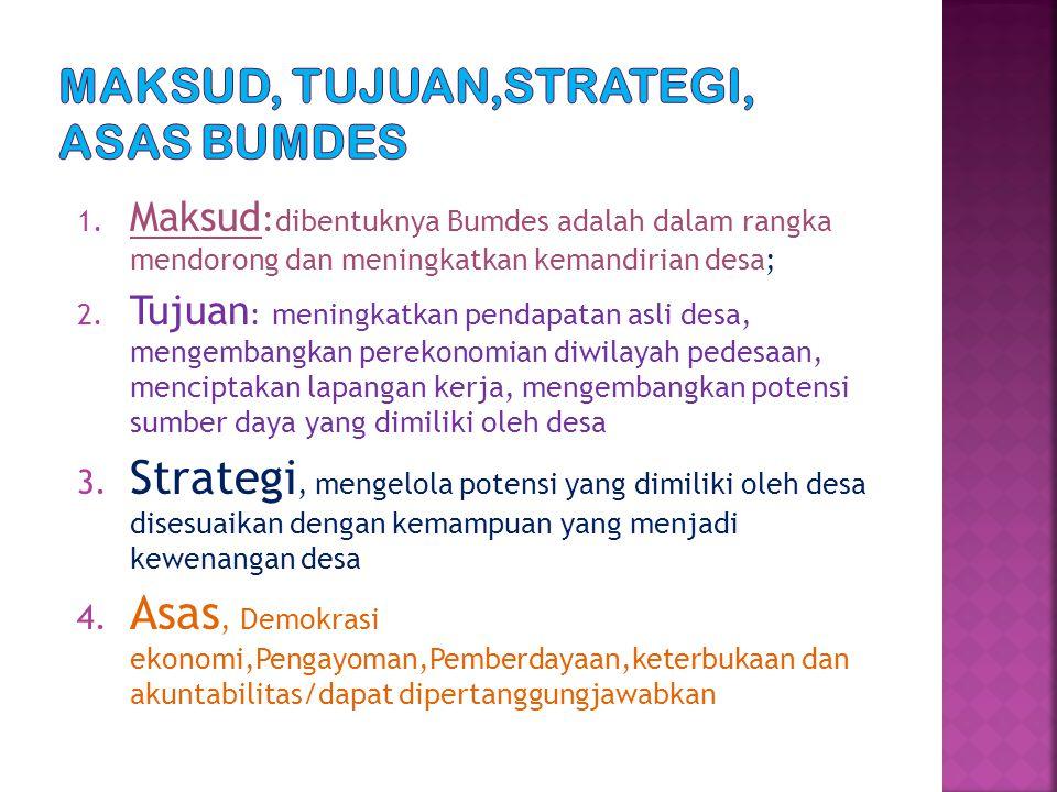 1. Maksud : dibentuknya Bumdes adalah dalam rangka mendorong dan meningkatkan kemandirian desa; 2. Tujuan : meningkatkan pendapatan asli desa, mengemb