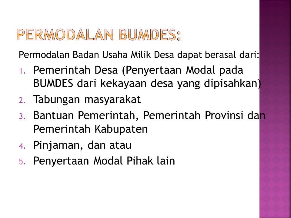 1.Organisasi Kepengurusan BUMDES berada diluar organisasi Pemerintahan Desa 2.