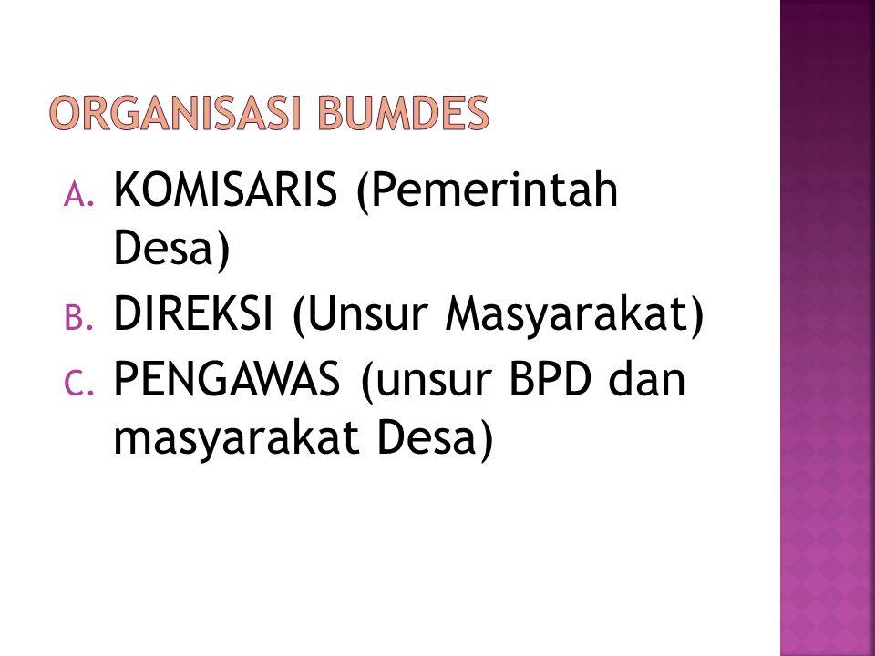A. KOMISARIS (Pemerintah Desa) B. DIREKSI (Unsur Masyarakat) C. PENGAWAS (unsur BPD dan masyarakat Desa)