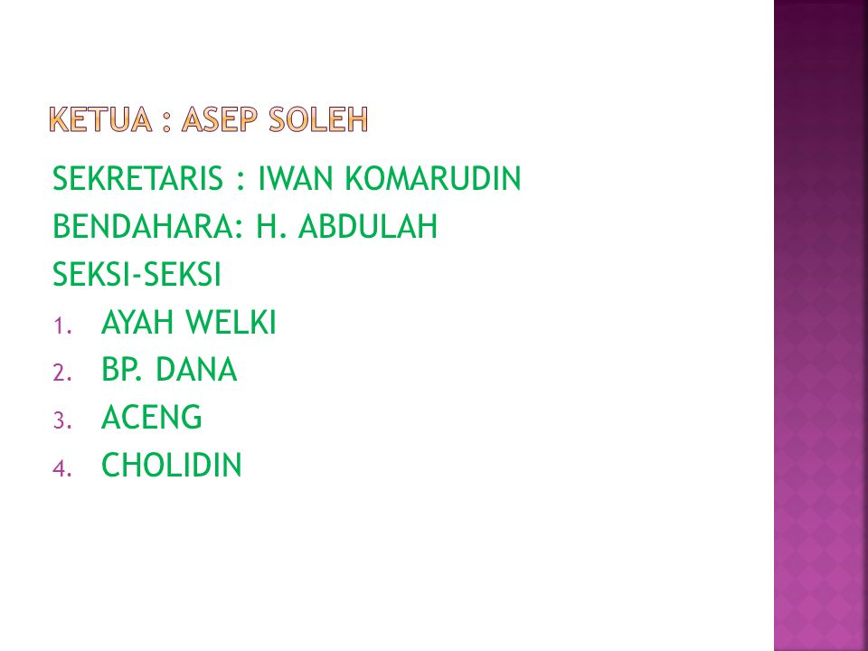 SEKRETARIS : IWAN KOMARUDIN BENDAHARA: H. ABDULAH SEKSI-SEKSI 1. AYAH WELKI 2. BP. DANA 3. ACENG 4. CHOLIDIN