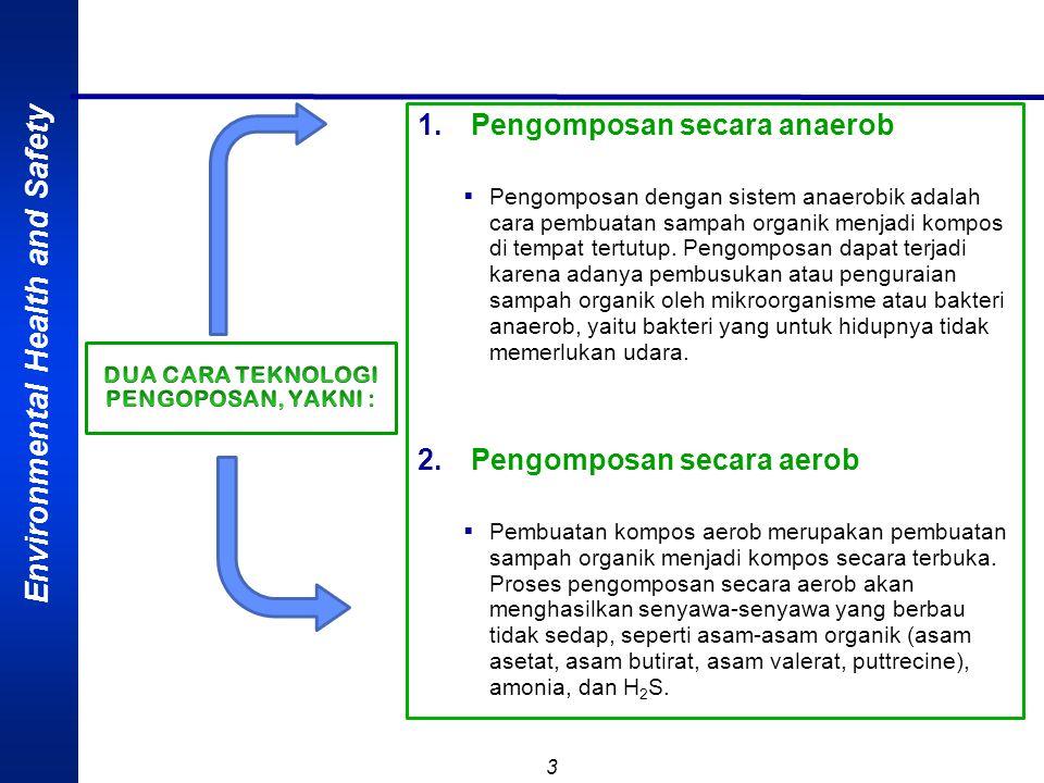Environmental Health and Safety 3 1.Pengomposan secara anaerob  Pengomposan dengan sistem anaerobik adalah cara pembuatan sampah organik menjadi kompos di tempat tertutup.