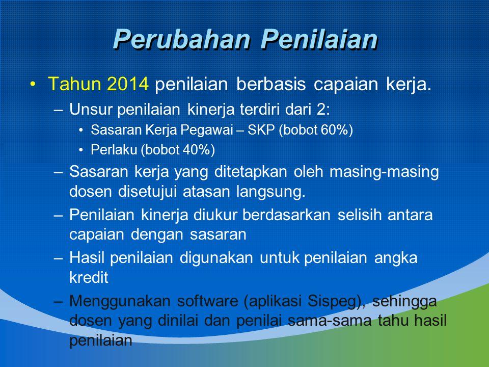 Perubahan Penilaian Tahun 2014 penilaian berbasis capaian kerja. –Unsur penilaian kinerja terdiri dari 2: Sasaran Kerja Pegawai – SKP (bobot 60%) Perl