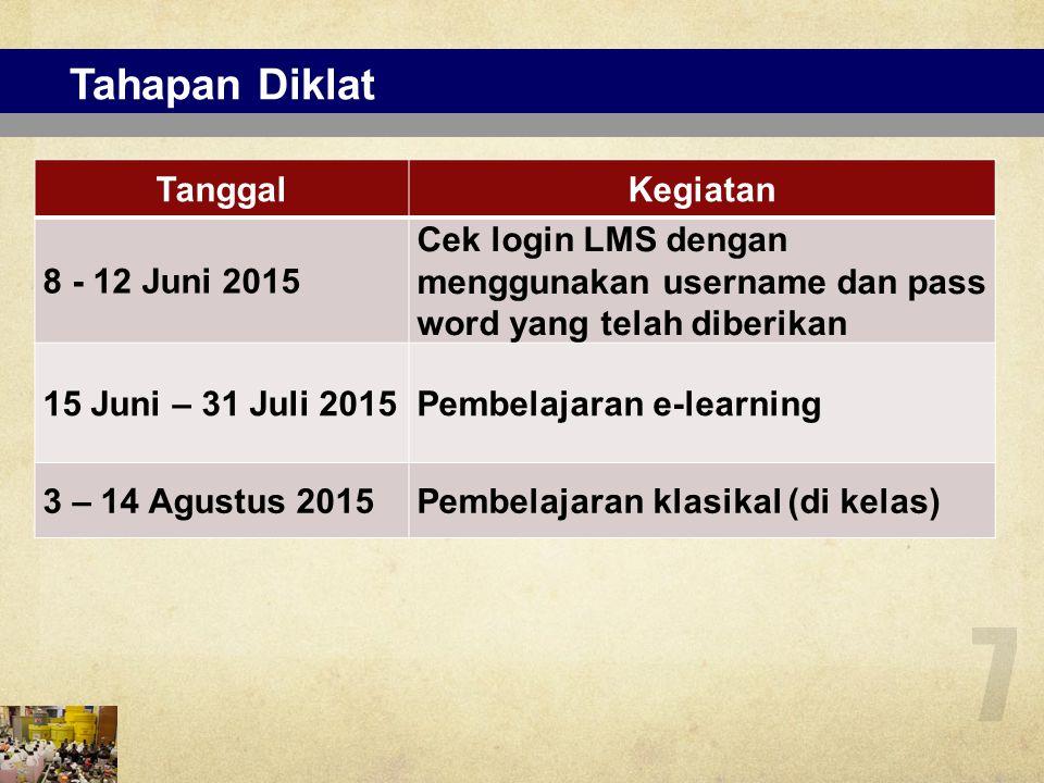 Pembelajaran e-learning 8 15 Juni – 31 Juli 2015 1.Belajar mandiri dengan bahan ajar yang terdapat dalam CD yang telah dibagikan atau dapat mengunduh dari LMS 2.
