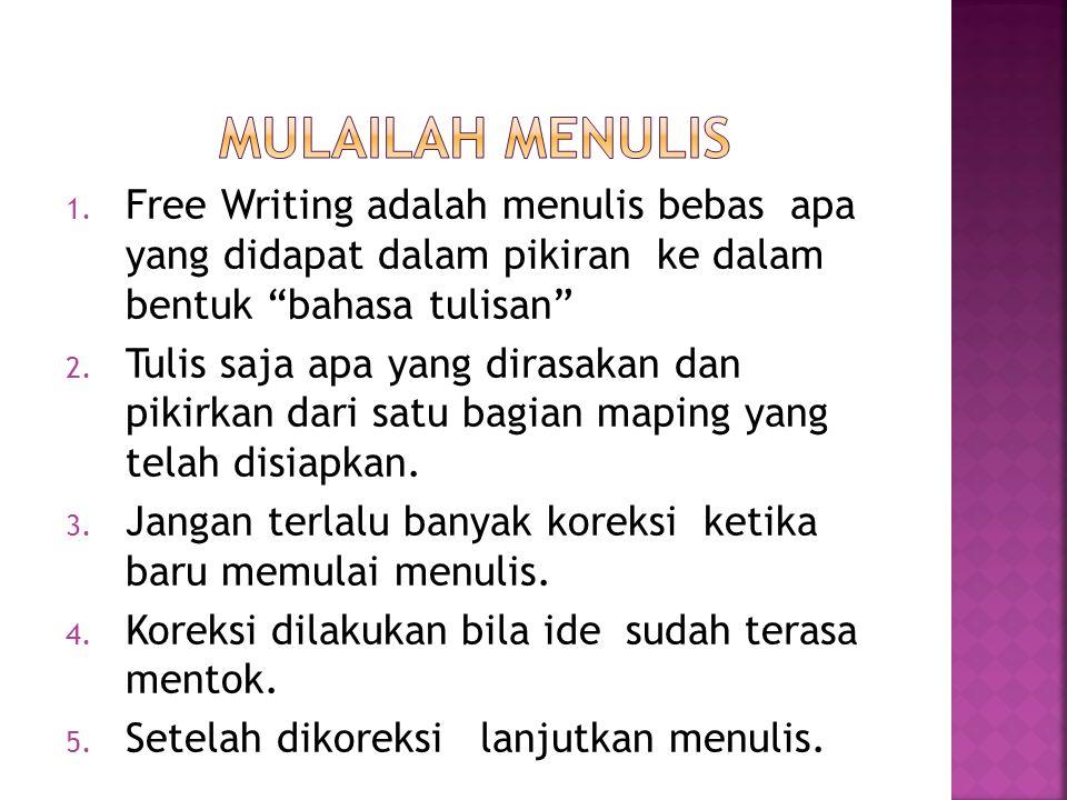 """1. Free Writing adalah menulis bebas apa yang didapat dalam pikiran ke dalam bentuk """"bahasa tulisan"""" 2. Tulis saja apa yang dirasakan dan pikirkan dar"""