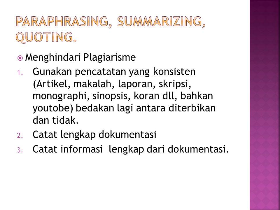  Menghindari Plagiarisme 1. Gunakan pencatatan yang konsisten (Artikel, makalah, laporan, skripsi, monographi, sinopsis, koran dll, bahkan youtobe) b