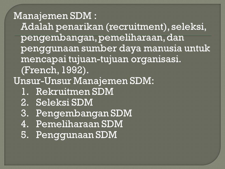 Manajemen SDM : Adalah penarikan (recruitment), seleksi, pengembangan, pemeliharaan, dan penggunaan sumber daya manusia untuk mencapai tujuan-tujuan organisasi.