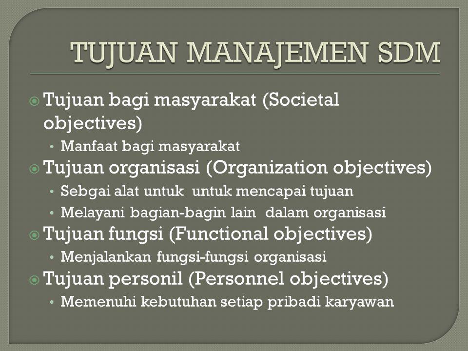  Tujuan bagi masyarakat (Societal objectives) Manfaat bagi masyarakat  Tujuan organisasi (Organization objectives) Sebgai alat untuk untuk mencapai tujuan Melayani bagian-bagin lain dalam organisasi  Tujuan fungsi (Functional objectives) Menjalankan fungsi-fungsi organisasi  Tujuan personil (Personnel objectives) Memenuhi kebutuhan setiap pribadi karyawan