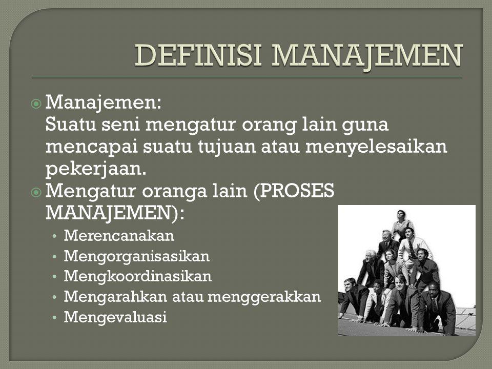  Manajemen: Suatu seni mengatur orang lain guna mencapai suatu tujuan atau menyelesaikan pekerjaan.