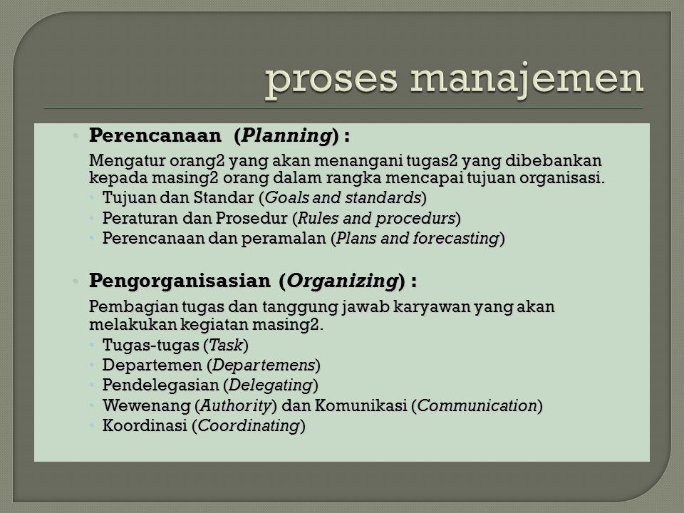 Perencanaan (Planning) : Perencanaan (Planning) : Mengatur orang2 yang akan menangani tugas2 yang dibebankan kepada masing2 orang dalam rangka mencapai tujuan organisasi.