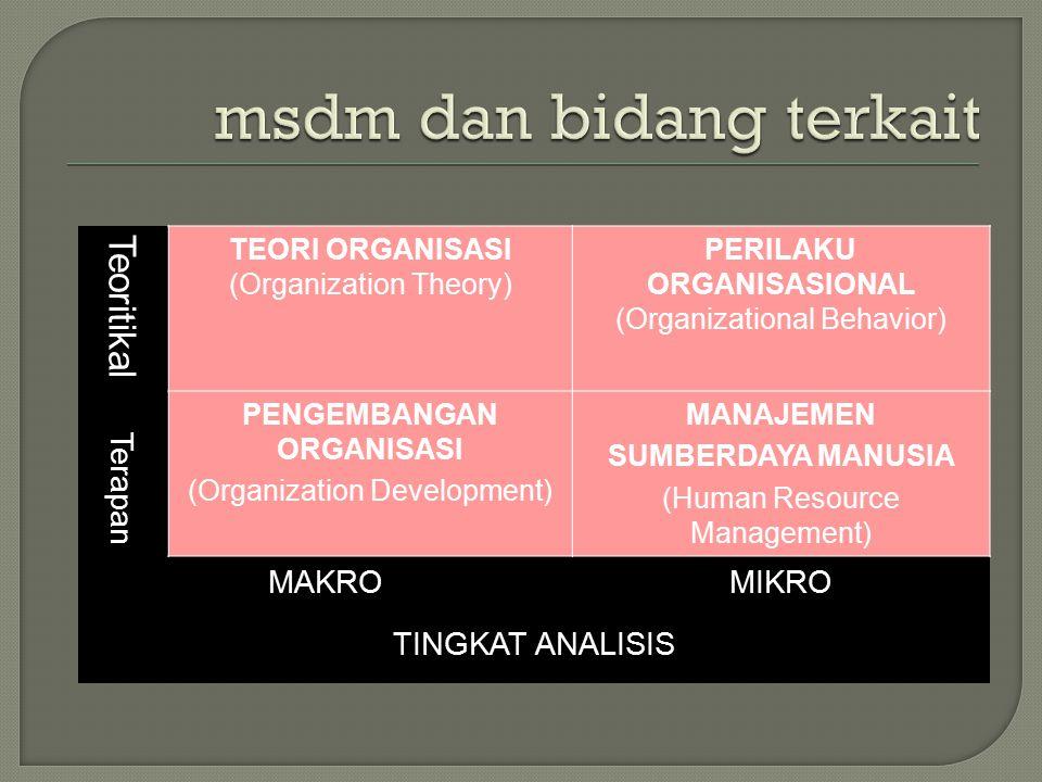 Teoritikal TEORI ORGANISASI (Organization Theory) PERILAKU ORGANISASIONAL (Organizational Behavior) Terapan PENGEMBANGAN ORGANISASI (Organization Development) MANAJEMEN SUMBERDAYA MANUSIA (Human Resource Management) MAKROMIKRO TINGKAT ANALISIS