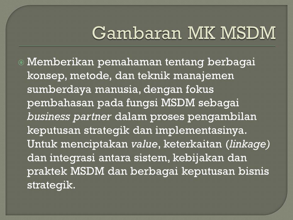  Memberikan pemahaman tentang berbagai konsep, metode, dan teknik manajemen sumberdaya manusia, dengan fokus pembahasan pada fungsi MSDM sebagai business partner dalam proses pengambilan keputusan strategik dan implementasinya.