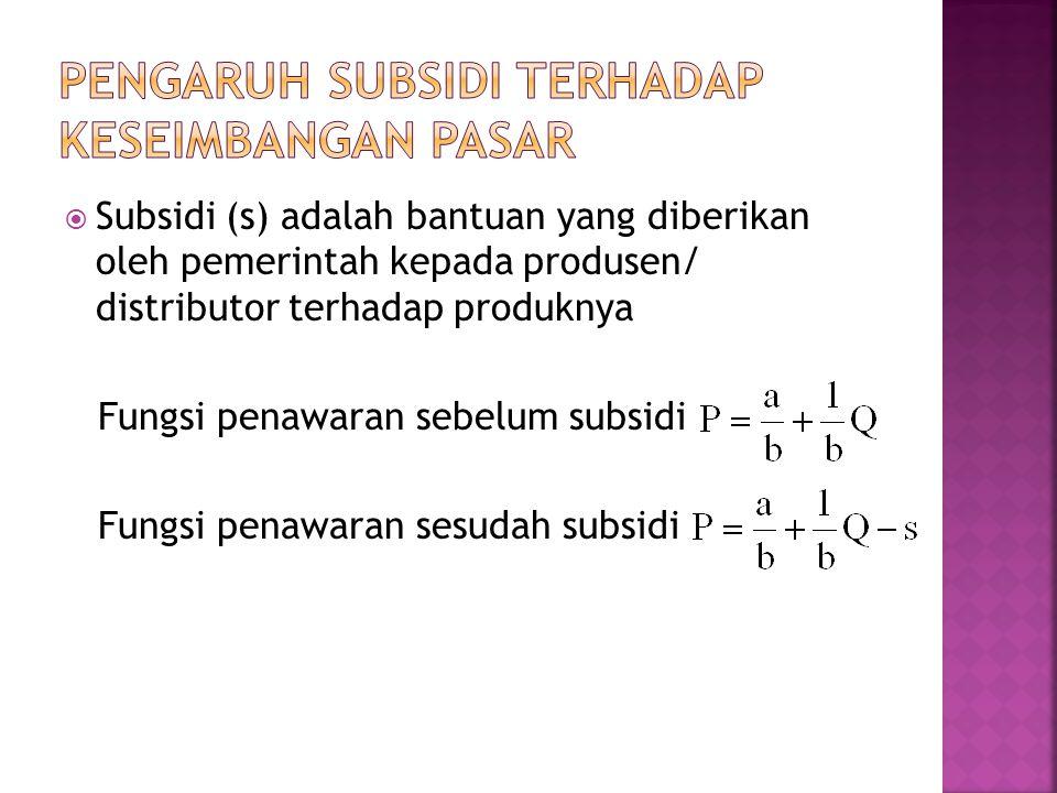 Subsidi (s) adalah bantuan yang diberikan oleh pemerintah kepada produsen/ distributor terhadap produknya Fungsi penawaran sebelum subsidi Fungsi penawaran sesudah subsidi