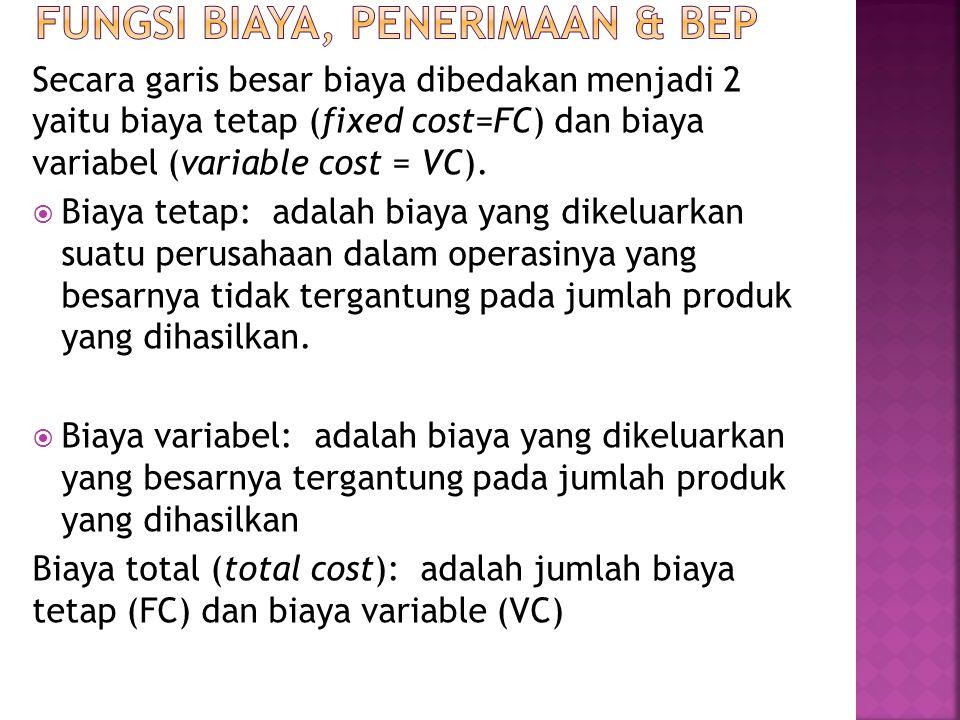Secara garis besar biaya dibedakan menjadi 2 yaitu biaya tetap (fixed cost=FC) dan biaya variabel (variable cost = VC).