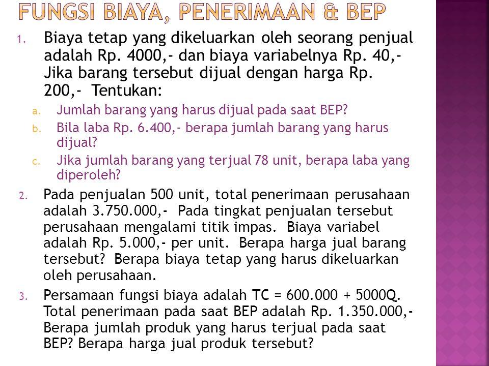 1.Biaya tetap yang dikeluarkan oleh seorang penjual adalah Rp.