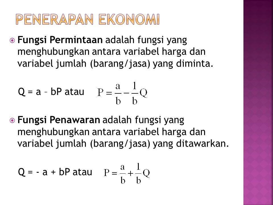  Fungsi Permintaan adalah fungsi yang menghubungkan antara variabel harga dan variabel jumlah (barang/jasa) yang diminta.