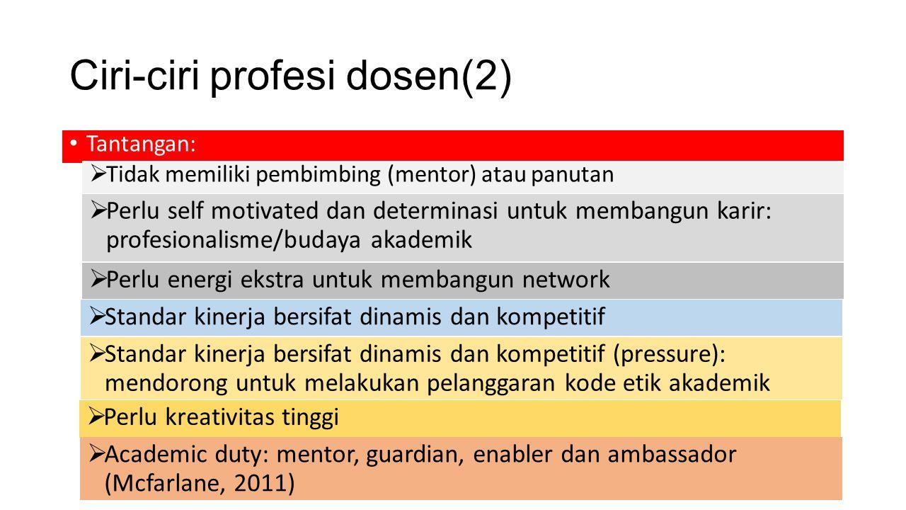 Ciri-ciri profesi dosen(2) Tantangan:  Tidak memiliki pembimbing (mentor) atau panutan  Perlu self motivated dan determinasi untuk membangun karir: