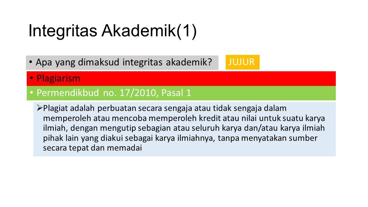 Integritas Akademik(1) Plagiarism JUJUR Apa yang dimaksud integritas akademik? Permendikbud no. 17/2010, Pasal 1  Plagiat adalah perbuatan secara sen