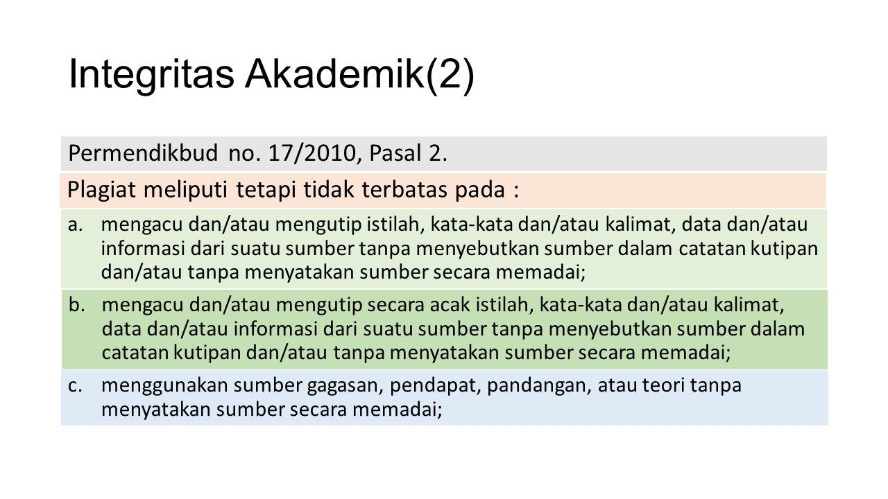 Integritas Akademik(2) Permendikbud no. 17/2010, Pasal 2. Plagiat meliputi tetapi tidak terbatas pada : a.mengacu dan/atau mengutip istilah, kata-kata