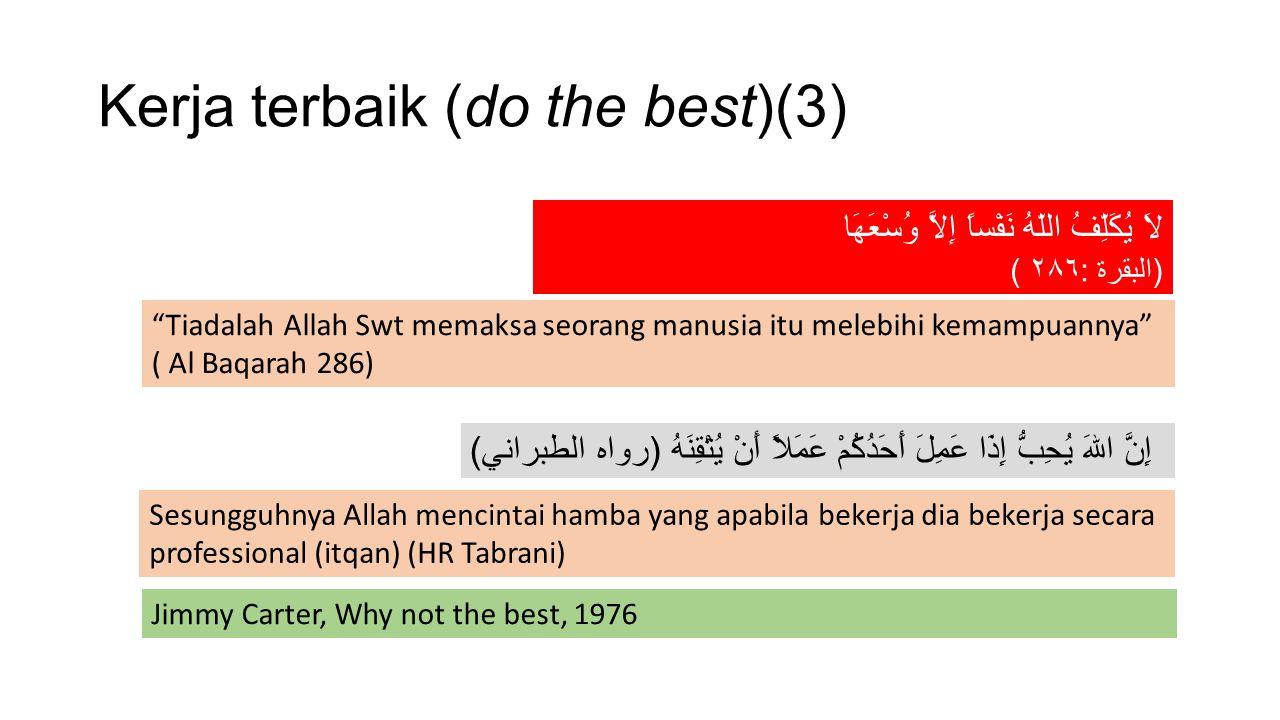 "Kerja terbaik (do the best)(3) لاَ يُكَلِّفُ اللّهُ نَفْساً إِلاَّ وُسْعَهَا ( البقرة : ٢٨٦ ) ""Tiadalah Allah Swt memaksa seorang manusia itu melebihi"