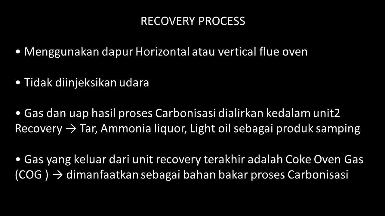 RECOVERY PROCESS Menggunakan dapur Horizontal atau vertical flue oven Tidak diinjeksikan udara Gas dan uap hasil proses Carbonisasi dialirkan kedalam