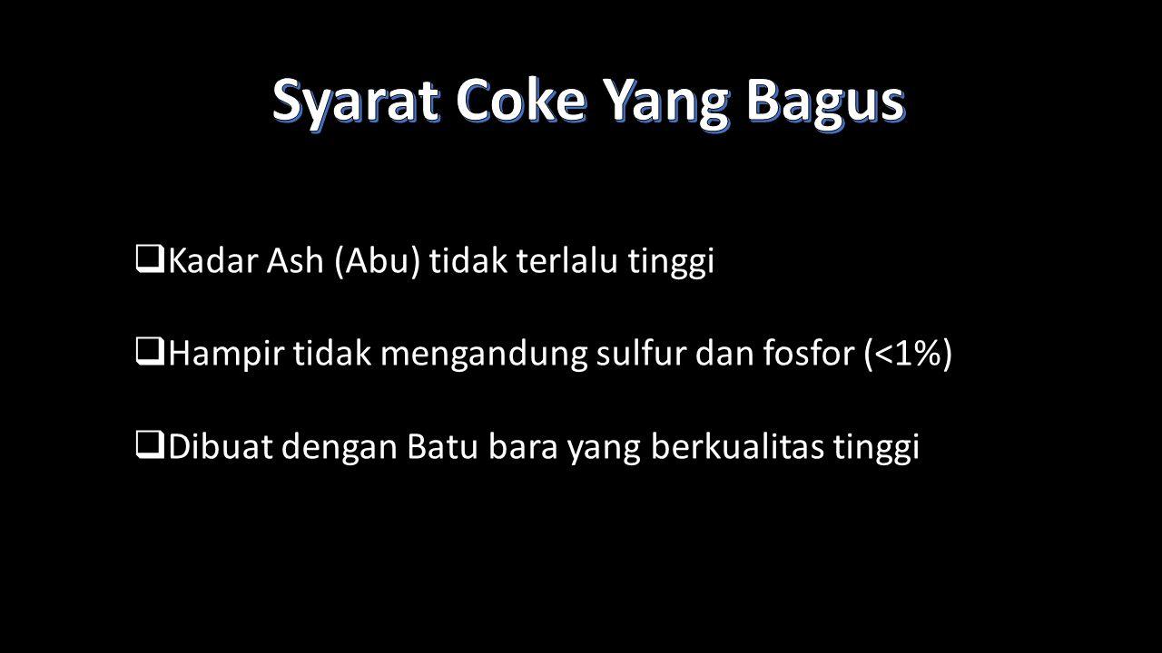  Kadar Ash (Abu) tidak terlalu tinggi  Hampir tidak mengandung sulfur dan fosfor (<1%)  Dibuat dengan Batu bara yang berkualitas tinggi