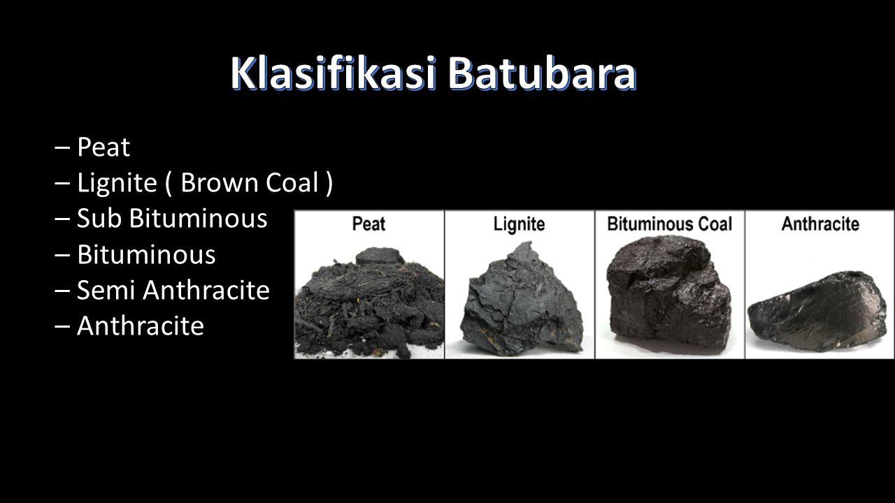 – Peat – Lignite ( Brown Coal ) – Sub Bituminous – Bituminous – Semi Anthracite – Anthracite