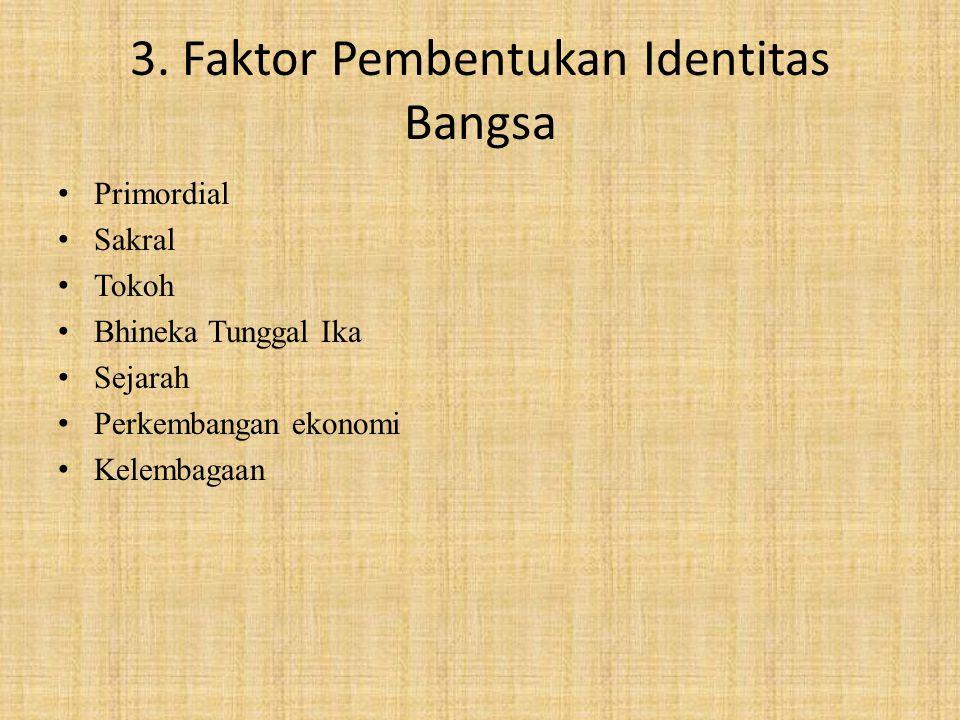 3. Faktor Pembentukan Identitas Bangsa Primordial Sakral Tokoh Bhineka Tunggal Ika Sejarah Perkembangan ekonomi Kelembagaan