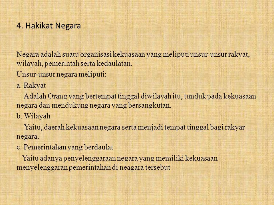 Bangsa dan Negara Indonesia 1.Hakikat Bangsa Indonesia Faktor-faktor (factor historis) penting bagi pembentukan bangsa Indonesia, sebagai berikut: a.Adanya kesamaan nasib, yaitu penderitaan bersama dibawah penjajahan bangsa asing lebih kurang selama 350 tahun.