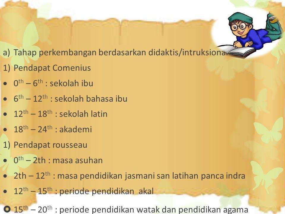 a)Tahap perkembangan berdasarkan didaktis/intruksional 1)Pendapat Comenius  0 th – 6 th : sekolah ibu  6 th – 12 th : sekolah bahasa ibu  12 th – 1